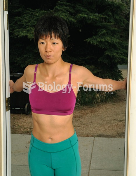 Stand in a doorway and hook your fingertips on both sides about chest level or lower.