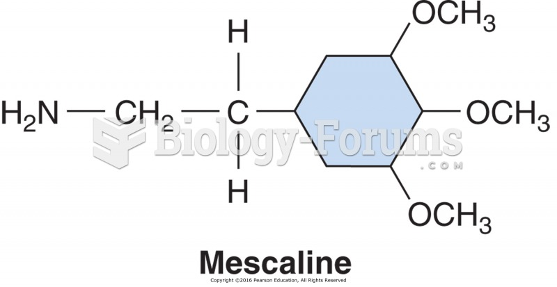 The chemical structure of mescaline, derived from the peyote cactus.