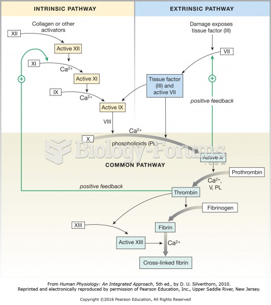 The coagulation cascade. Both the intrinsic pathway and extrinsic pathway lead to a common pathway ...