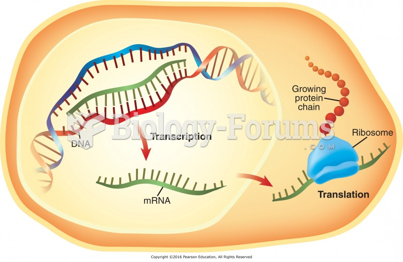 Steps in protein synthesis: The DNA is used as a template to make mRNA (transcription). The mRNA is ...