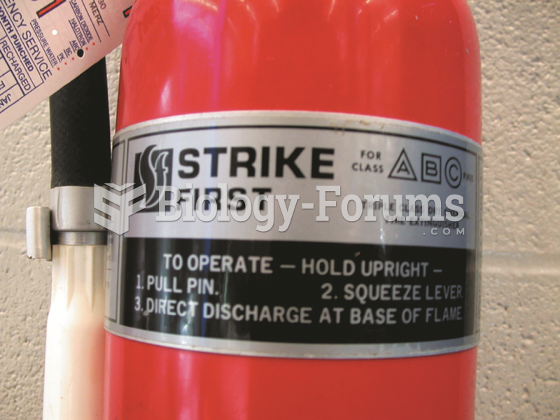 A typical fire extinguisher designed to  be used on class A, B, or C fires.