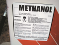 Sign on methanol pump shows that  methyl alcohol is a poison and can cause skin irritation and other ...