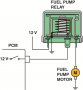A typical output driver. In this case,  the PCM applies voltage to the fuel pump relay coil  to ...
