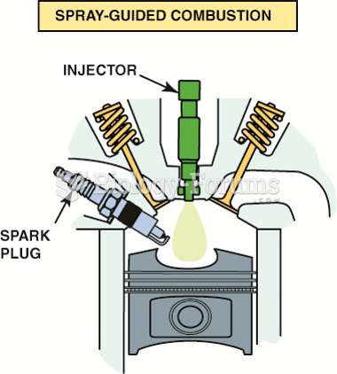 In this design, the fuel injector is at  the top of the cylinder and sprays fuel into the cavity  of ...