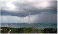 Waterspouts are tornadoes that occur over warm-water bodies, instead of over land.