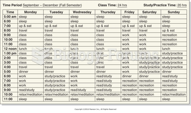 Sample time management planning chart for a massage student.