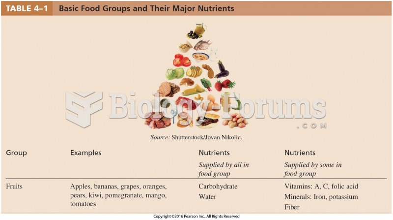 Basic Food Groups and Their Major Nutrients