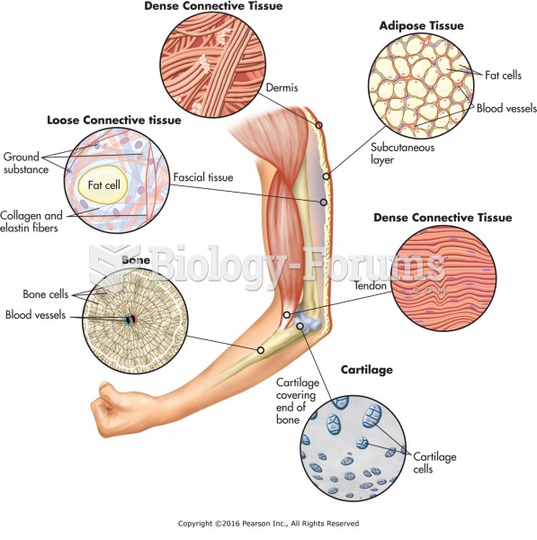 Types and Locations of Connective Tissue.