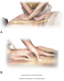 Fascial stretching techniques. (A) Cross-hand dual direction stretch. (B) Pin and stretch with the ...