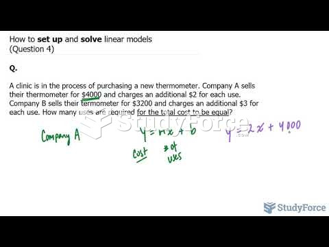 How to set up and solve linear models (Question 4)