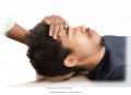 Neck stretch. Rest the receiver's head on the palm of your right hand, taking a firm hold on the ...