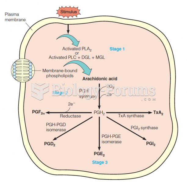 Summary of biosynthetic routes to the major prostaglandins and thromboxane A2