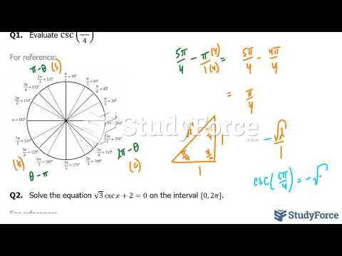 How to evaluate angles using cosecant, special triangles, and the unit circle (Part 3)