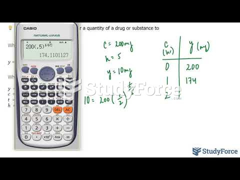 How to setup and solve a half-life problem using a table of values (Question 1)