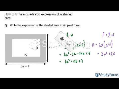 How to write a quadratic expression of a shaded area