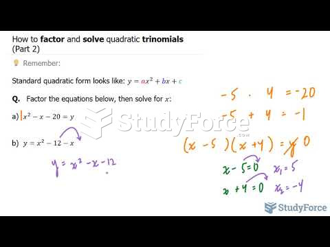 How to factor and solve quadratic trinomials (Part 2)