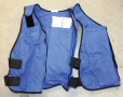 A heat exchange vest that uses ice packs for cooling