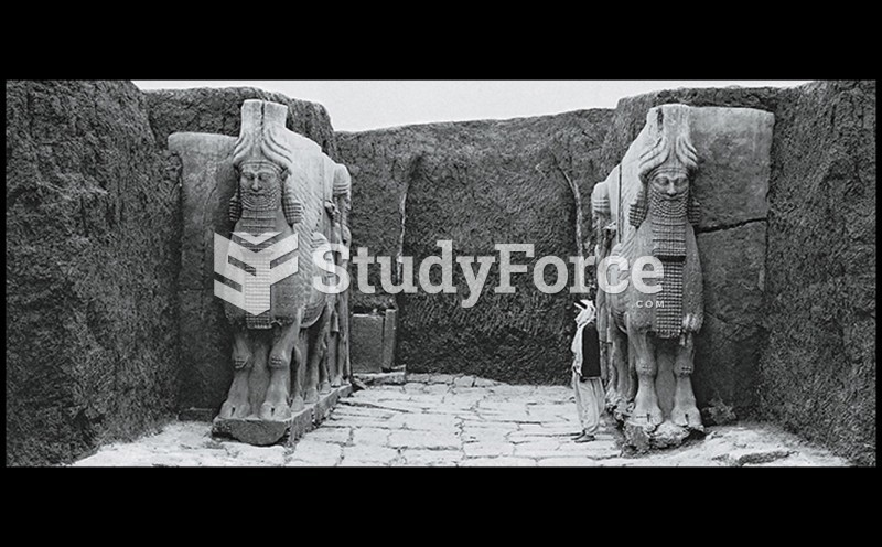 Guardian Figures at Gate A of the Citadel Of Sargon II During Its Excavation in the 1840s