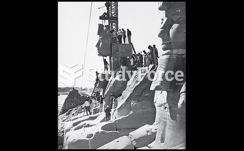 Removal of the Face of One of the Colossal Sculptures of Ramses II at Abu Simbel in the Mid 1960s