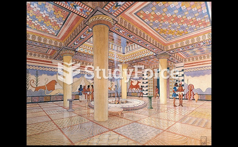 Reconstruction Drawing of the Megaron (Great Room) of the Pylos Palace