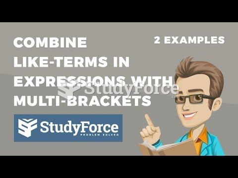 How to combine like-terms in expressions containing multi-brackets