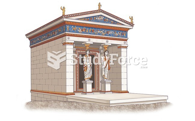 Reconstruction Drawing of the Sanctuary of Apollo, Delphi: Treasury of the Siphnians