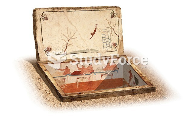 Reconstruction Drawing of the Tomb of the Diver, Poseidonia (Roman Paestum)