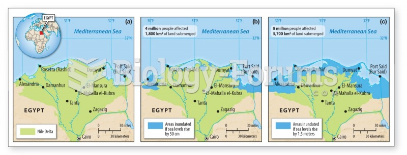 The Nile Delta will be strongly affected by a rise in sea level of 50 cm