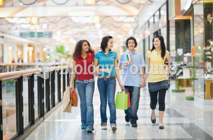 High school students shopping at the mall