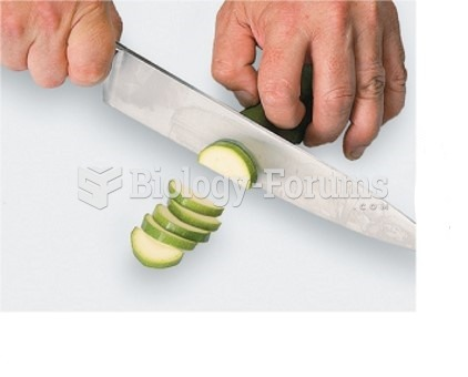 Control you knife with one hand and hold the item being cut with the other (2 of 3)