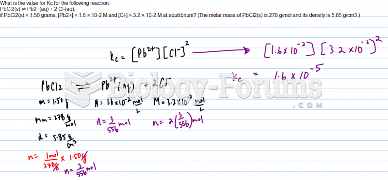 What is the value for Kc for the following reaction: PbCl2(s) ⇌ Pb2+(aq) + 2 Cl-(aq), if ...
