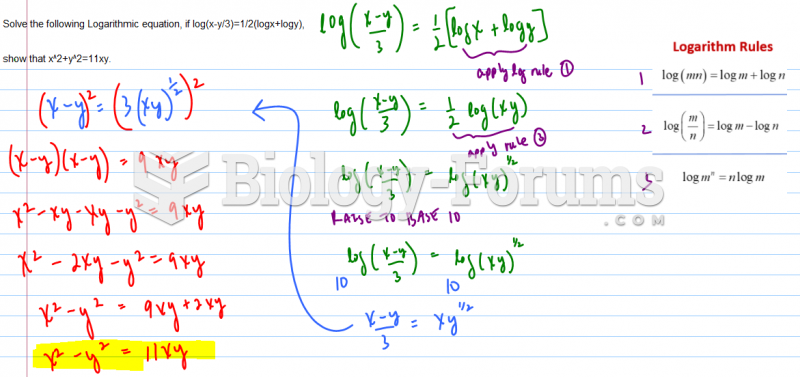 Solve the following Logarithmic equation, if log(x-y/3)=1/2(logx+logy),