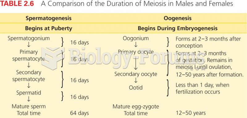 Comparison of the Duration of Meiosis in Males and Females