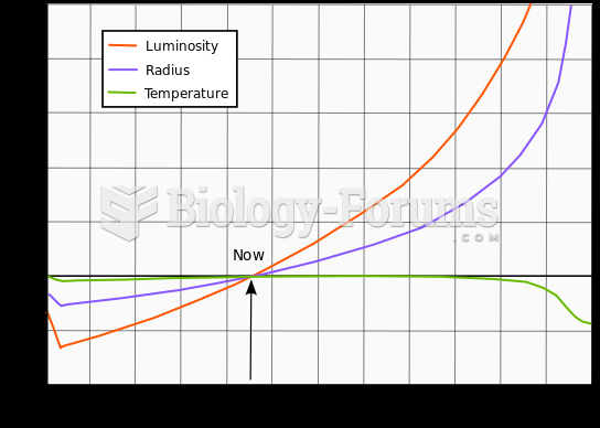 Evolution of the Sun's luminosity, radius and effective temperature compared to the present Sun