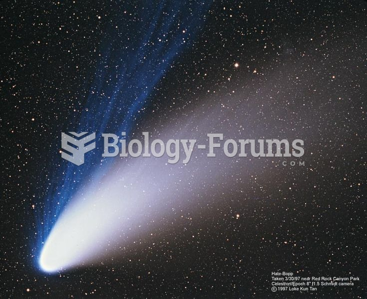 The sparse plasma (blue) and dust (white) in the tail of comet Hale–Bopp are being