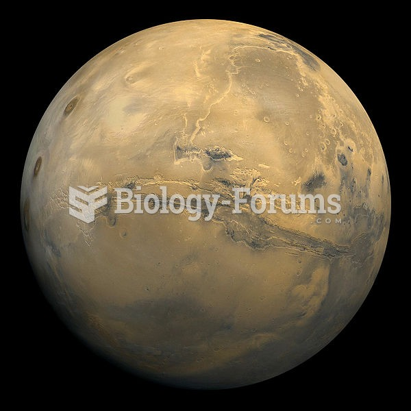 Global view of Mars as seen by the Viking 1 orbiter in 1980, showing the Valles Marineris (center)