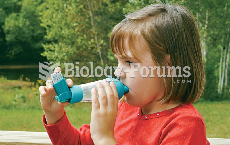 Inhalation medication administration. Photograph of a young girl using a metered-dose inhaler.