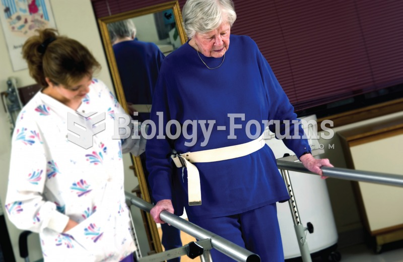Physical therapist assisting a patient to walk in the parallel bars.