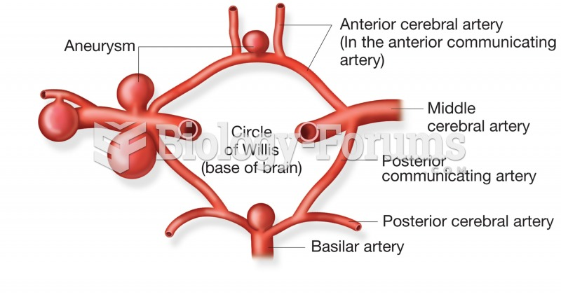 Common locations for cerebral artery aneurysms in the Circle of Willis.
