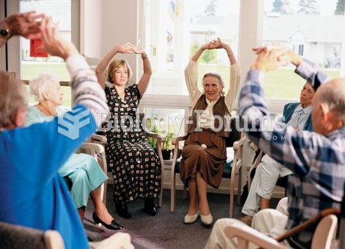 These older adults are participating in an exercise class at their assisted-living facility