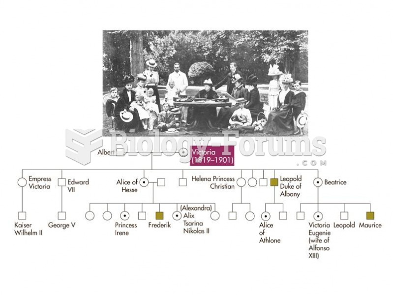 Queen Victoria and her family, and a pedigree showing the transmission of hemophilia in the British