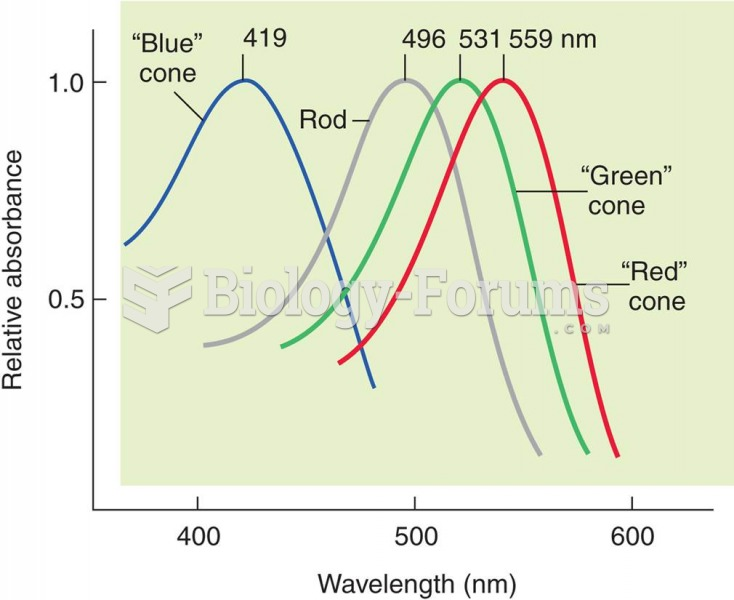 Absorbance of Light by Rods and Cones