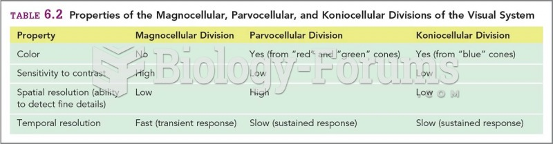 Properties of the Magnocellular, Parvocellular, and Koniocellular Divisions of the Visual System