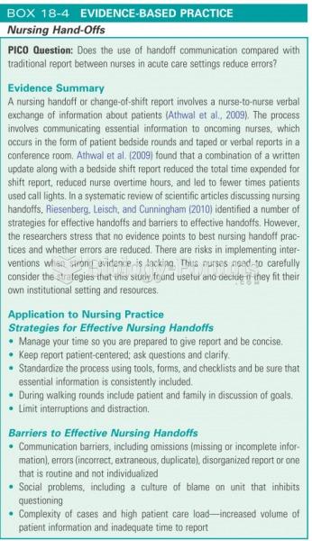 Nursing hand offs