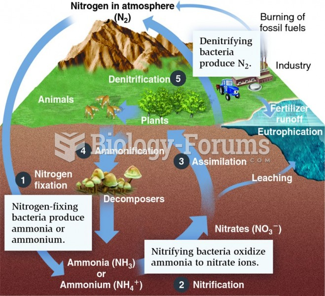 The nitrogen cycle. The five main parts of the nitrogen cycle are: