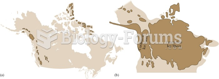 Distribution of glaciers in North America (a) in the late twentieth century, and (b) 18,000 years ag