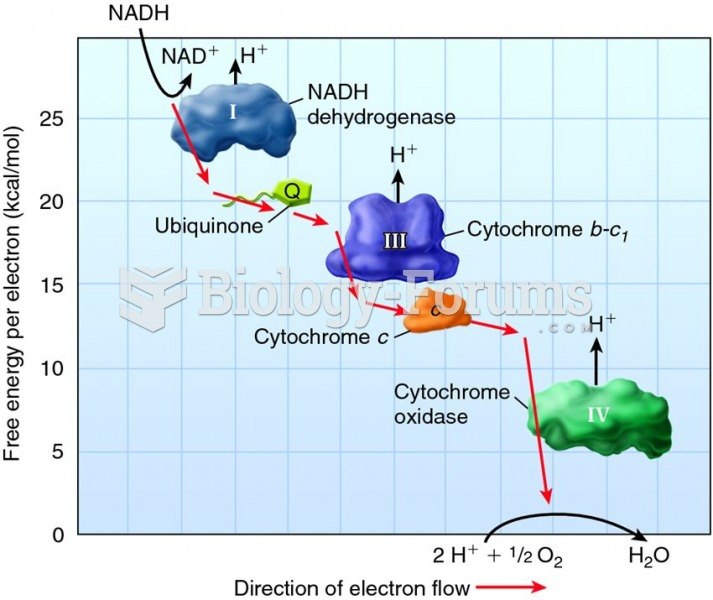 The relationship between free energy and electron movement along the electron transport chain