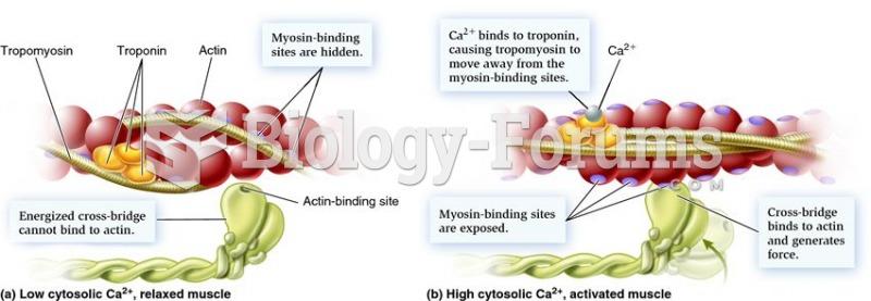 Role of calcium, tropomyosin, and troponin in cross-bridge cycling.