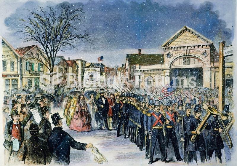 A strike by 800 women shoemakers in Lynn, Massachusetts, in 1860. In 1851 a Lynn shoemaker had adapt