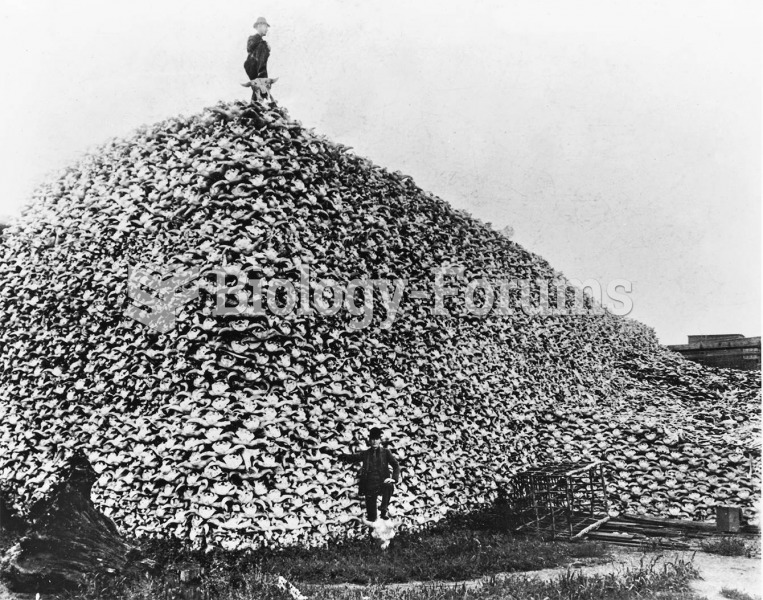 A mound of buffalo skulls. In 1870 an estimated 30 million buffalo roamed the plains; by 1900 there